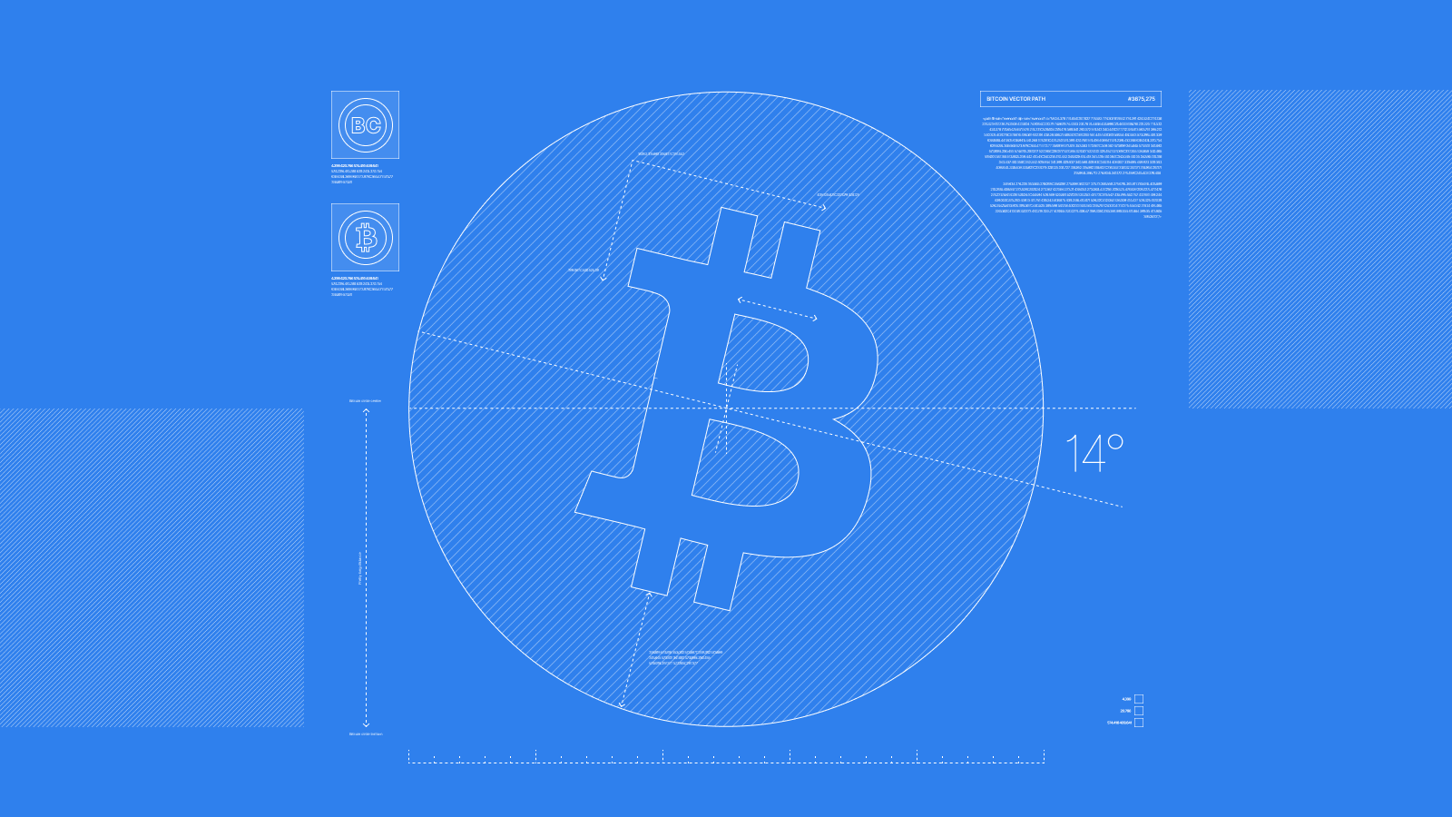 Blueprint illustration of a bitcoin symbol