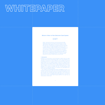 Illustration of the first page of the Bitcoin white paper